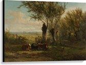 Canvas  - Oude Meesters - Weiland bij Oosterbeek, Gerard Bilders, 1860 - 100x75cm Foto op Canvas Schilderij (Wanddecoratie op Canvas)