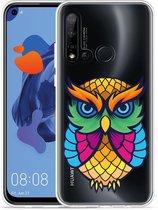 P20 Lite 2019 Hoesje Colorful Owl Artwork