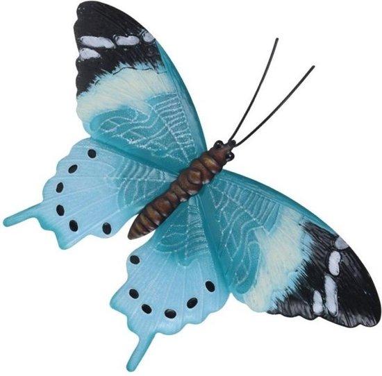 Bol Com Tuin Schutting Decoratie Lichtblauw Zwarte Vlinder 35 Cm Tuin Schutting Schuur