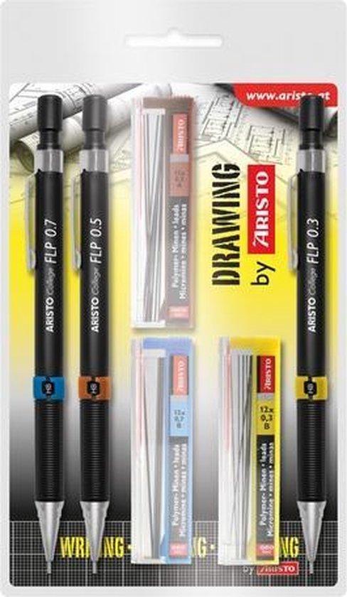 Afbeelding van Vulpotlodenset Aristo HB 0.35/0.5/0.7mm met gratis potloodstiftjes