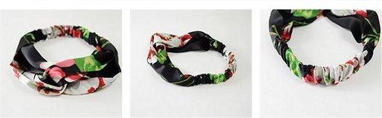 Haarband Satijn - Zwart Bloemen - Bandana Hoofdband   100% Polyester   Elastisch - Fashion Favorite