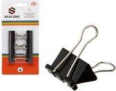 Papier clips/houders zwart 6 stuks 25 mm - papierbinders - kantoor artikelen en benodigdheden