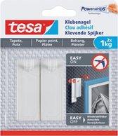 Tesa - 77773 - klevende spijker voor behang en pleisterwerk tot 1kg - 13mm groot - Wit - 2 stuks