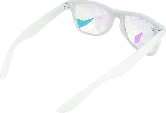 Caleidoscoop bril Wayfarer wit - spacebril diamant space holografisch