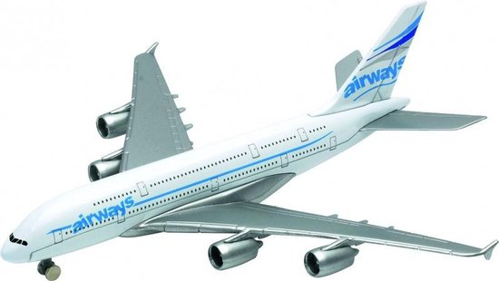 Afbeelding van Metalen Airbus A380 vliegtuig speelgoed