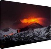 Vulkaanuitbarsting Canvas 30x20 cm - klein - Foto print op Canvas schilderij (Wanddecoratie woonkamer / slaapkamer)