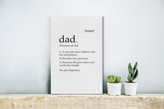 Leuk cadeau voor vader met definitie Dad Canvas 20x30 cm