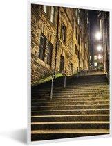 Foto in lijst - Trap van de Royal Mile snachts fotolijst wit 40x60 cm - Poster in lijst (Wanddecoratie woonkamer / slaapkamer)