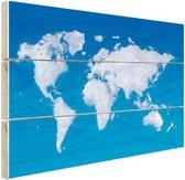 Wereldkaart wolken Hout 30x20 cm - klein - Foto print op Hout (Wanddecoratie)