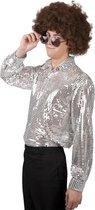 Zilver disco overhemd voor heren - Verkleedkleding