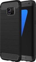 Samsung Galaxy S7 Edge / G935 Brushed structuur Fiber TPU Rugged Armor beschermings hoesje(zwart)