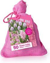 50x 'Pink Jute Bag' - Tulipa + Hyacinthus + Alium - Roze mix - 40 bloembollen