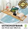 Verstelbaar Luxe Bamboe badrekje voor over bad - 70 tot 106,5 cm lang - Badrek / Badplank / Badkuip bad plank / Badplank / Badrekje / Badbrug geschikt voor telefoon, tablet, boek - Uitschuifbaar bad tafeltje van Bamboe hout - Decopatent®