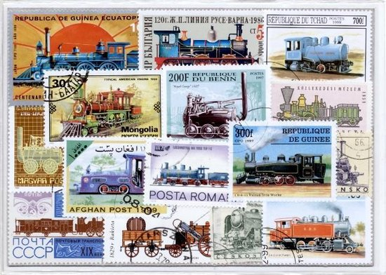 Thumbnail van een extra afbeelding van het spel Stoomlocomotieven - postzegelpakket cadeau met 25 verschillende postzegels