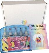 Tie Dye kit – Tie Dye verf – Tie Dye set – Tie 'n Dye – kledingverf – 5 verschillende kleuren – inc. Nederlandse handleiding met 5 verschillende ontwerpen
