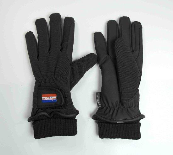 Winter Paardrijhandschoenen bruin/zwart met kunstlederen binnenzijde en stretch stoffen bovenzijde voor fijne pasvorm maat M  HT5049
