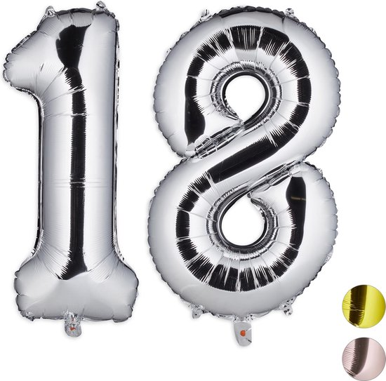 relaxdays 1x folieballon cijfer 18 - luchtballon - zilver - voor lucht   helium - groot
