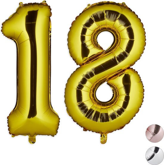 relaxdays 1x folieballon cijfer 18 - luchtballon - goud - voor lucht   helium - groot