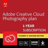 Adobe Creative Cloud Photography Plan: Student & Docent Editie - 1 Apparaat - 1 Jaar - 20GB Cloudopslag - Nederlands / Engels - Windows / Mac Download