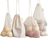 Herbruikbare Producten Zakken | Herbruikbare Zakjes | Biologisch Katoen Mesh | Boodschappen tasjes | Broodzak | Duurzaam Cadeautje Vrouw en Hem| Reusable Mesh Produce Bags | 100% Organic Cotton | Plastic-Free Product & Packaging