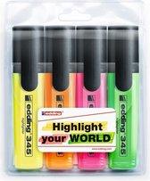 Edding 345 markeerstift 4 stuk(s) Groen, Oranje, Roze, Geel Beitelvormige punt