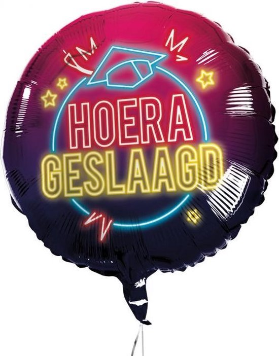 Boland Ballon Hoera Geslaagd 45 Cm Folie Zwart