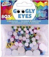 80x Wiebel ogen sticker gekleurd - 5 / 8 / 15 mm - Hobby/knutsel artikelen