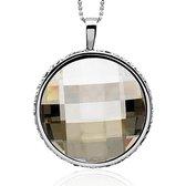 Zinzi zilveren hanger tweezijdig Swarovski zwart wit ZIH628