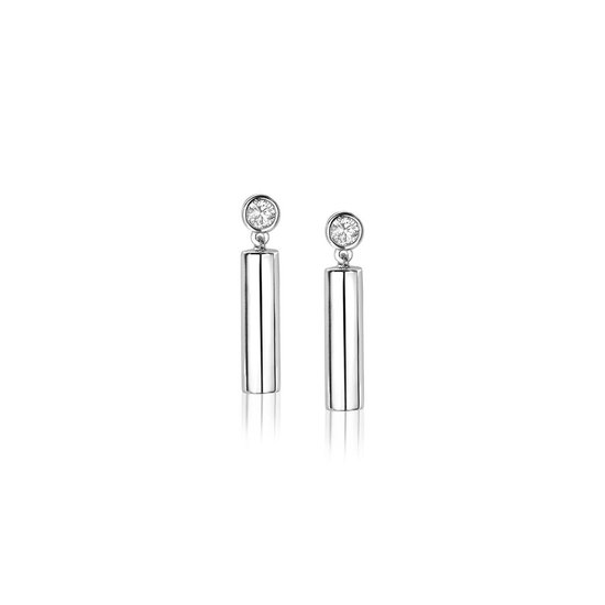 ZINZI zilveren oorhangers rond buisje wit 20mm lang ZIO1575