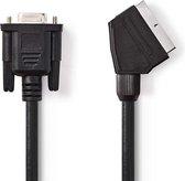 Nedis Scart (m) - VGA (v) kabel / zwart - 2 meter