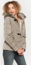 Gewatteerde jas met bontkraag - Taupe