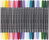 Afbeelding van Textielstiften, Lijndikte 2,3+3,6 mm, Extra Kleuren, 20 Stuk