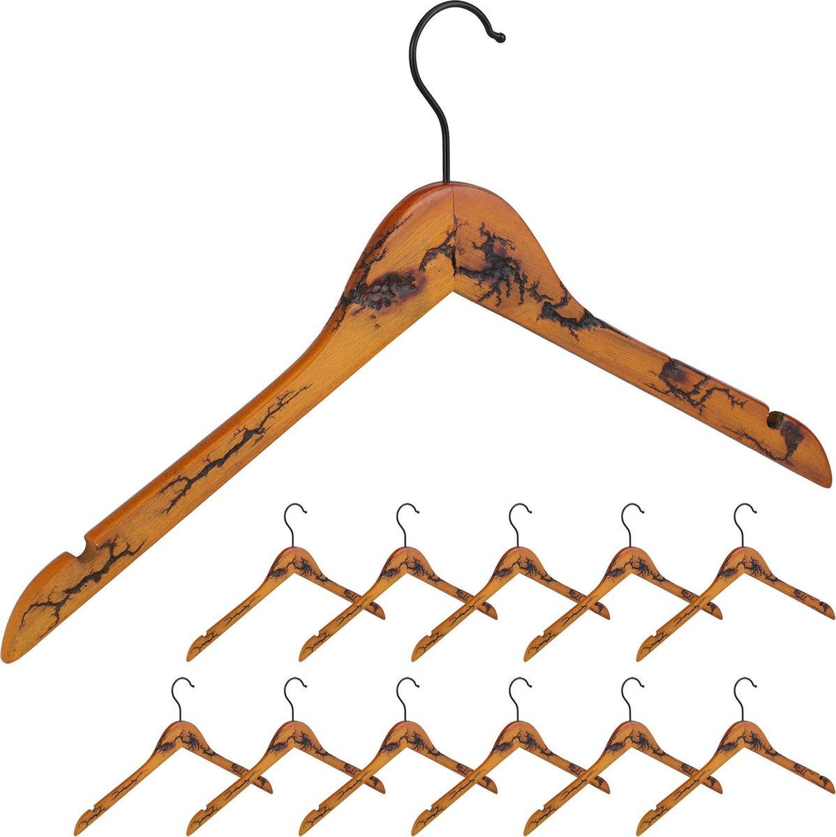 relaxdays houten kledinghangers - 5 stuks - kleerhangers hout - jashanger  - vintage - rok
