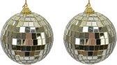 10x Gouden disco spiegelballen kerstballen 8 cm - Kerstboomversiering/kerstversiering discobollen/discoballen