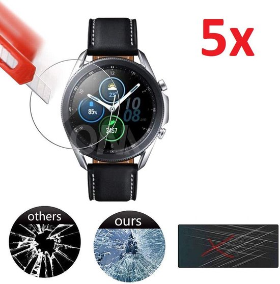Tempered Glass Screenprotector Voor Samsung Galaxy Watch3 45mm - Screen Protector Ultradun Gehard Glas - Display Schermbeschermer Beschermglas - Set Van 5 Stuks