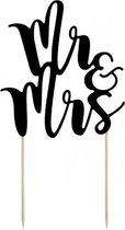 Bruidstaart decoratie topper Mr & Mrs zwart 25 cm - Huwelijk/Trouwerij versiering - Moderne bruidstaart figuurtjes alternatief