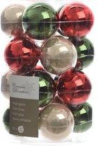 Glas Kerstballen Assorti (6cm) Box 20 Stuks Red Green