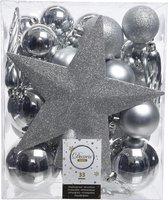 Decoris kerstballen - 33 stuks – kunststof - met piek