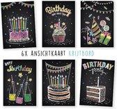 wenskaarten - kaartenset - ansichtkaarten - Verjaardag - krijtbord - 6 stuks