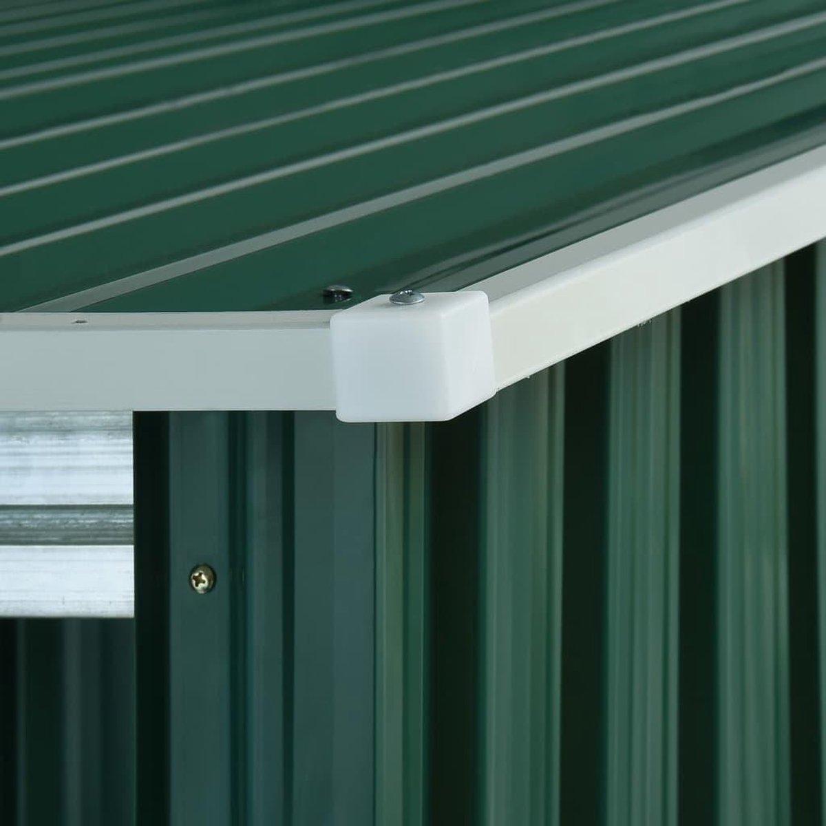 VidaXL Tuinschuur met verlengd dak 346x236x181 cm staal groen VDXL_144039 online kopen
