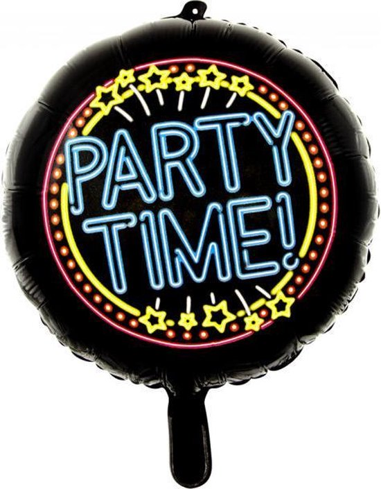 Wefiesta Folieballon Party Time Neon 45 Cm Zwart