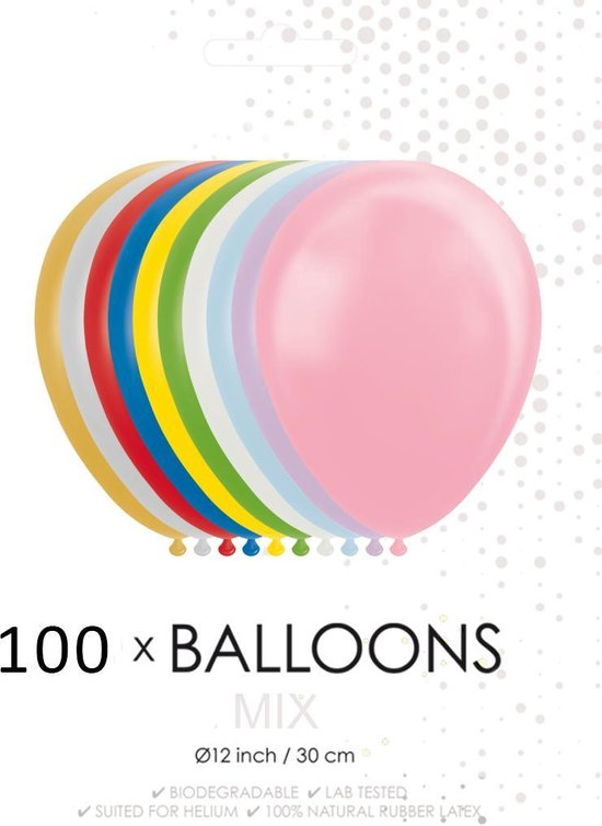 100 Metallic / Pearl ballonnen mix  30 cm.