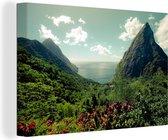 Regenwoud rondom de Pitons in Saint Lucia Canvas 120x80 cm - Foto print op Canvas schilderij (Wanddecoratie woonkamer / slaapkamer)