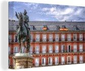 Plaza Mayor van Madrid in het Europese Spanje Canvas 140x90 cm - Foto print op Canvas schilderij (Wanddecoratie woonkamer / slaapkamer)