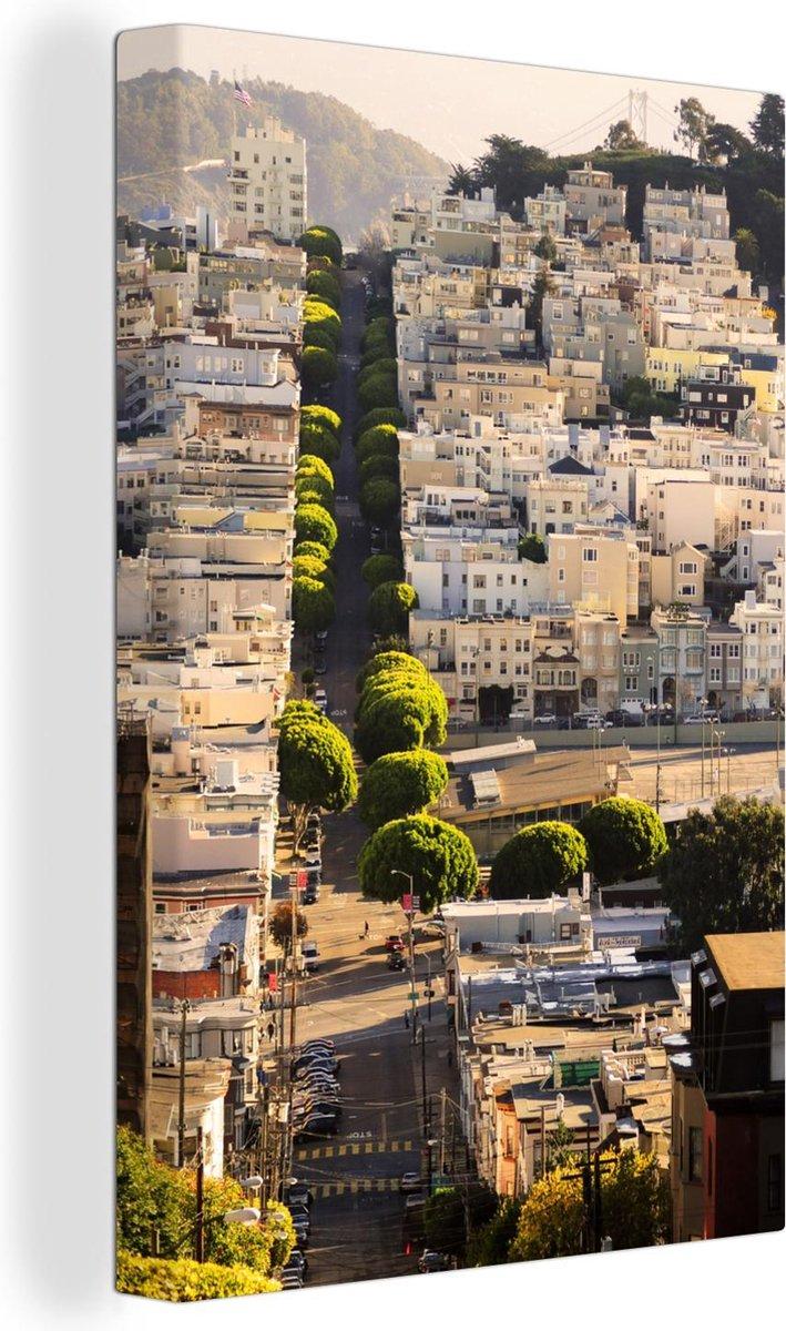Heuvels van San Francisco Canvas 40x60 cm - Foto print op Canvas schilderij (Wanddecoratie woonkamer / slaapkamer) / Amerikaanse steden Canvas Schilderijen
