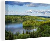 Uitzicht op meren Canvas 30x20 cm - klein - Foto print op Canvas schilderij (Wanddecoratie woonkamer / slaapkamer)