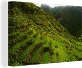 Aziatische Rijstterrassen van Banaue Canvas 180x120 cm - Foto print op Canvas schilderij (Wanddecoratie woonkamer / slaapkamer) XXL / Groot formaat!