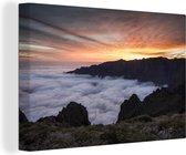 Zonsondergang bij het Nationaal park Caldera de Taburiente in Spanje Canvas 60x40 cm - Foto print op Canvas schilderij (Wanddecoratie woonkamer / slaapkamer)