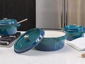 Sola Braadpan Gietijzer - Ø 24 cm - Blauw/groen  - Inclusief deksel