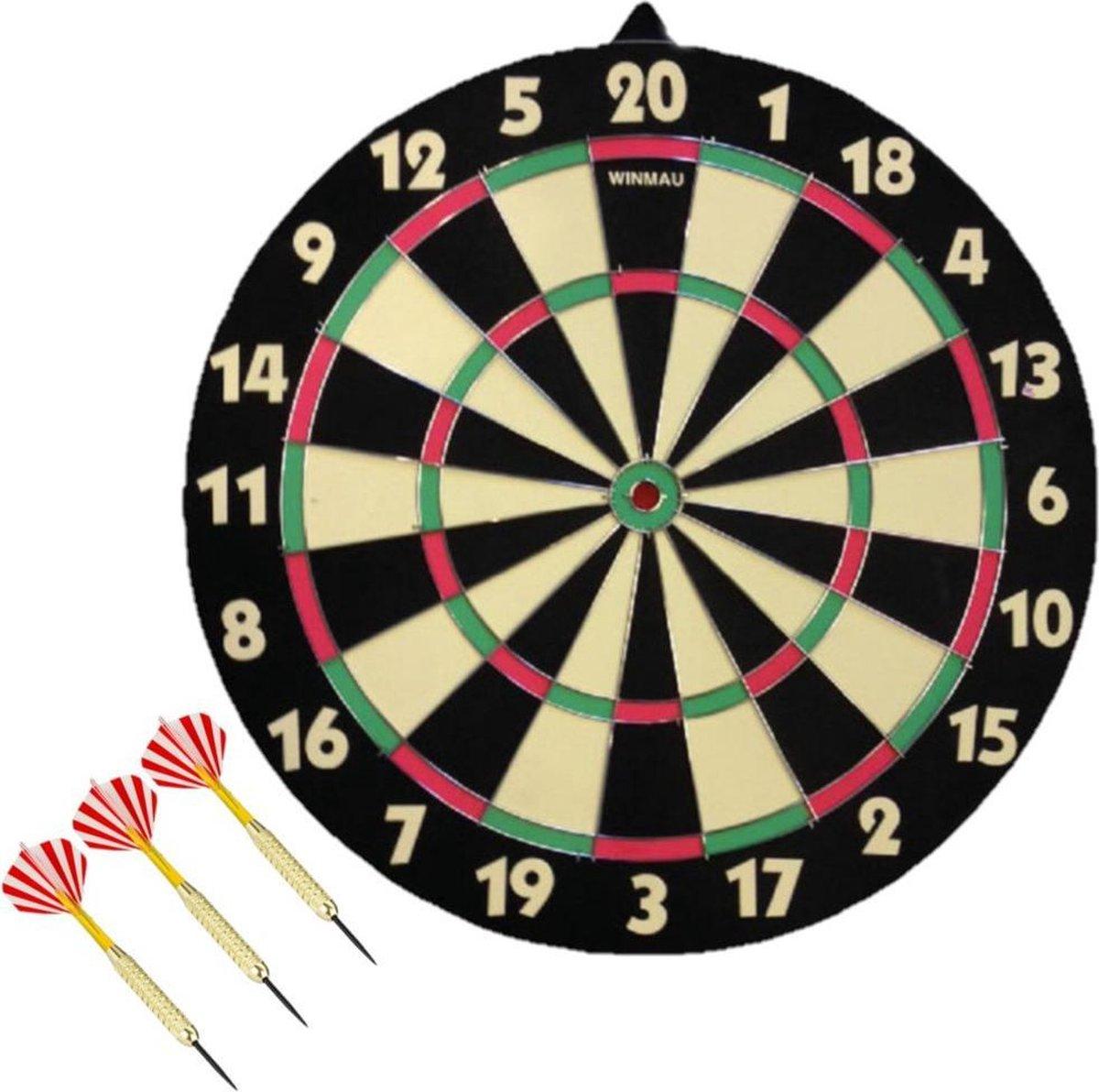 Dartbord dubbelzijdig 42 cm voor kinderen met 3x dartpijltjes van 20 gram - Dubbelzijdig, achterkant is schietschijf